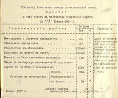 Отчёт мастерской Тамбовского порохового завода об изготовленном порохе за 13 января 1917 г. 14 января 1917 г. Ф. 98. Оп. 1. Д. 97. Л. 130