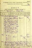 Лист выдачи документальных материалов в читальный зал Государственного архива Тамбовской области В.П. Пешкову – студенту Тамбовского пединститута. 1951 год.