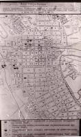 План г. Тамбова. Очаги поражения территории города в результате попадания фугасных и зажигательных бомб при налёте немецкой авиации в ночь на 29 июня 1942 г.