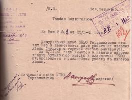 Сообщение штаба МПВО Мичуринского горисполкома облисполкому об изготовлении бутылок с горючей смесью. 6 ноября 1941 г.